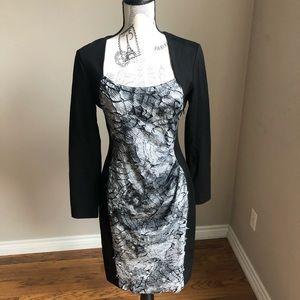 Cartise Black silver snake print stretch dress